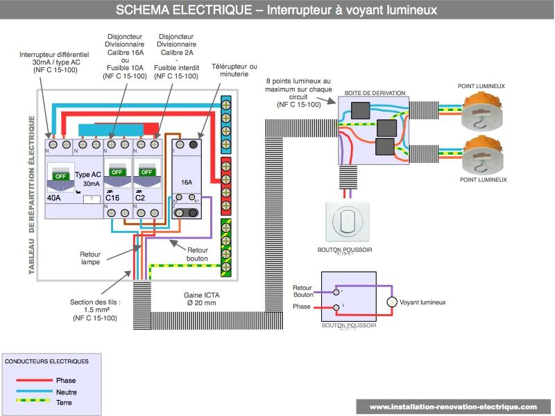 Branchement d 39 un interrupteur avec voyant ou t moin lumineux - Branchement d un detecteur de mouvement ...
