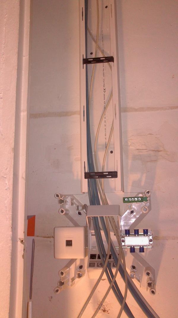 Tableau AXCITY branchement des câbles réseau RJ45 pour l'installation électrique