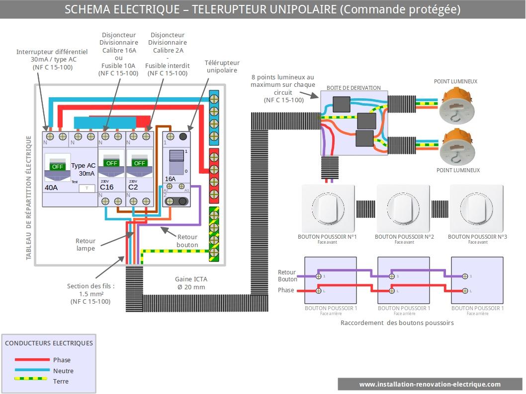 Le sch ma lectrique du t l rupteur unipolaire - Schema electrique telerupteur ...