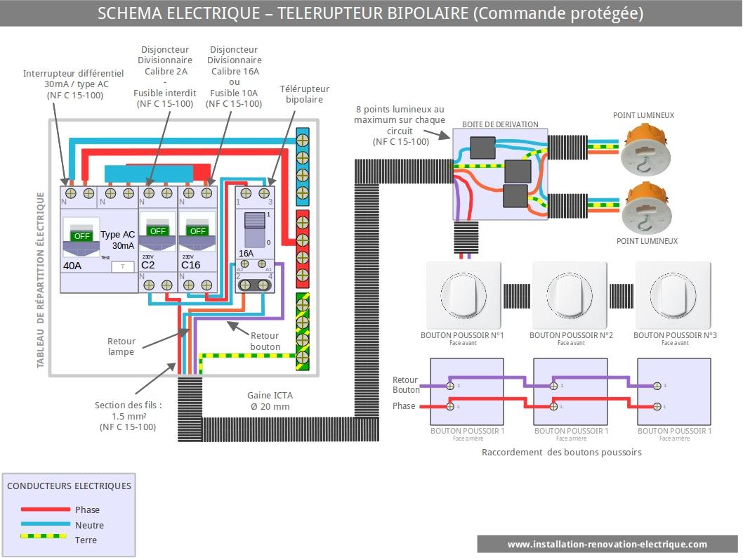 installation-électrique-schéma-connexion-télérupteur-bipolaire