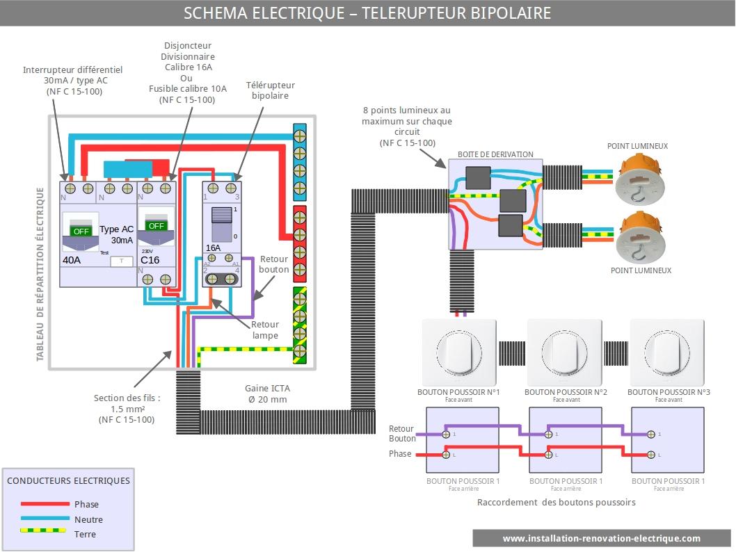installation-électrique-cablage-électrique-télérupteur-bipolaire