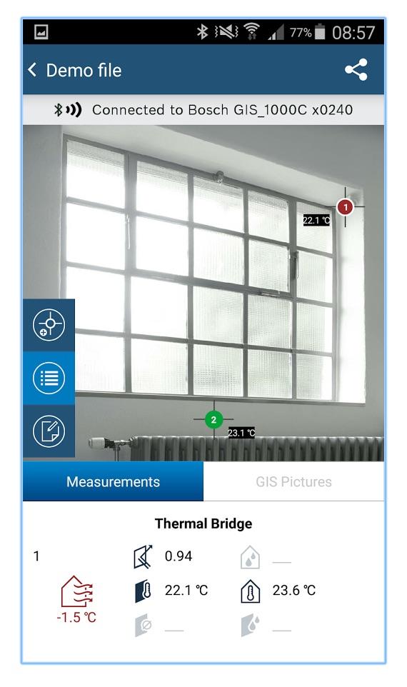 application gis 1000C connexion smartphone, détection de ponts thermiques