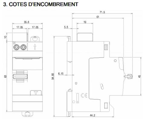 cote encombrement interrupteur differentiel