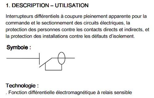 notice technique legrand interrupteur differentiel
