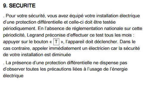 securite test bouton T interrupteur differentiel