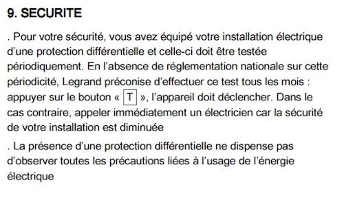 securite test bouton T interrupteur differentiel