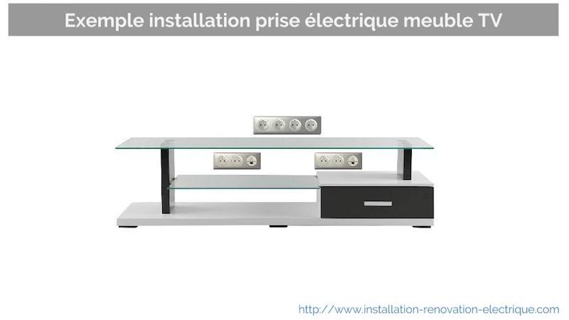 prise electrique meuble TV deux niveaux