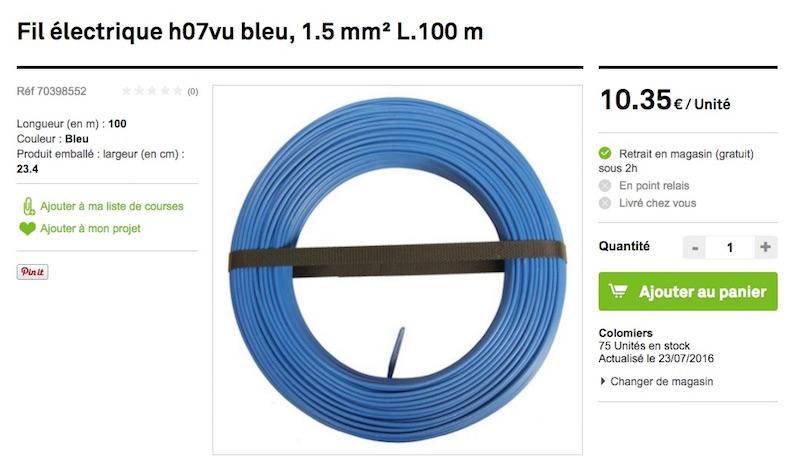 fil electrique H07VU bleu commande drive leroy merlin