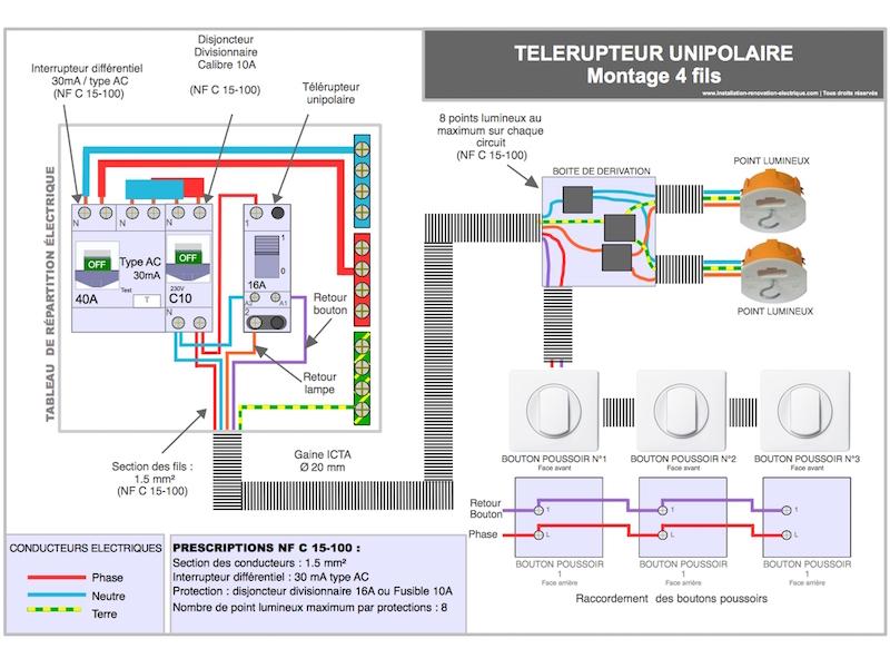 branchement électrique du télérupteur modulaire 4 fils