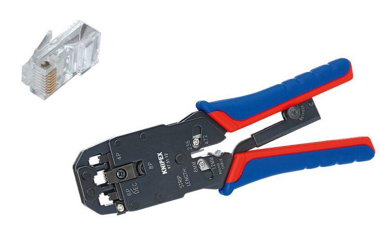 Pince à sertir RJ45 Knipex 975112, test pour le cablage RJ45: