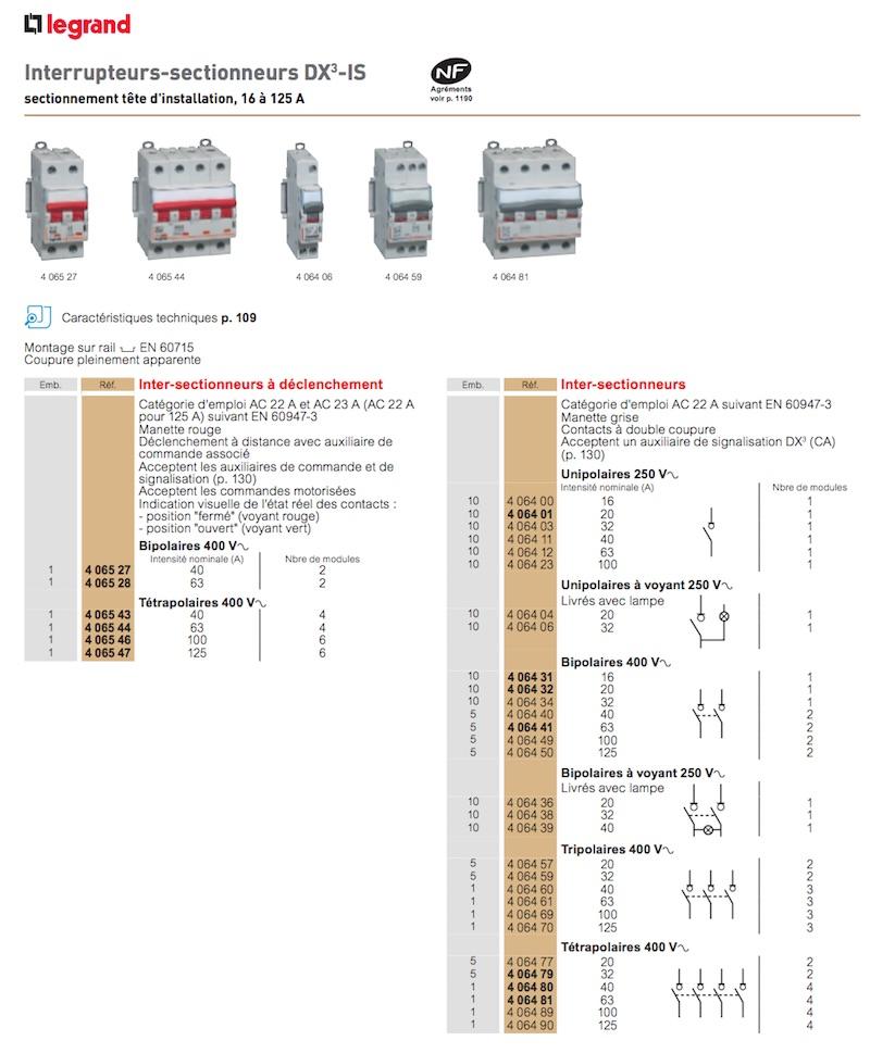 interrupteurs sectionneurs Legrand choix