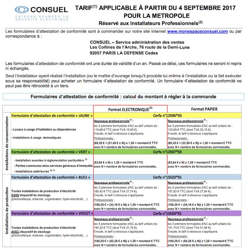 tarif consuel France attestation jaune