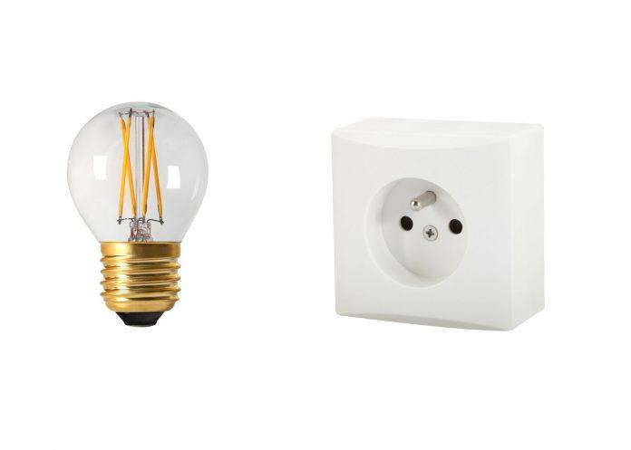 éclairage sur un circuit de prise électrique
