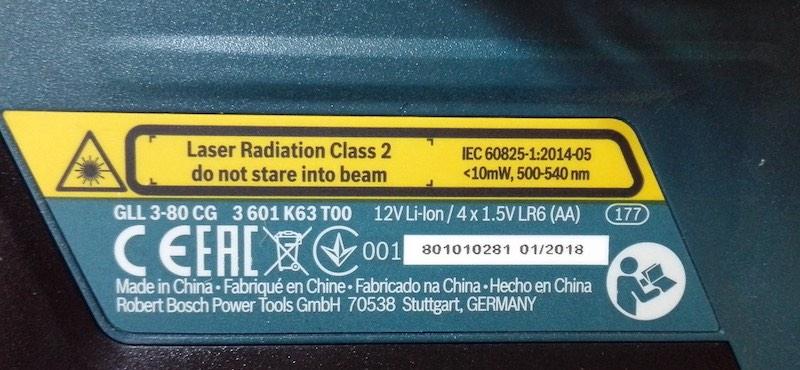 Laser vert 500 540 nm qui équipe le niveau laser Bosch GLL 3 80 CG