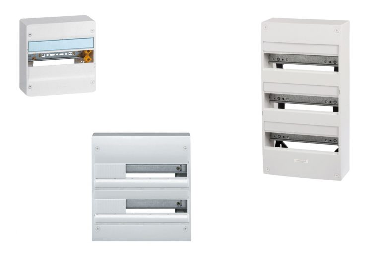 Coffret électrique, explication et description, Bornier, rail DIN, obturateur, porte