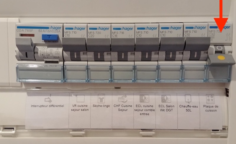 réservation coffret électrique plaque de cuisson 32A