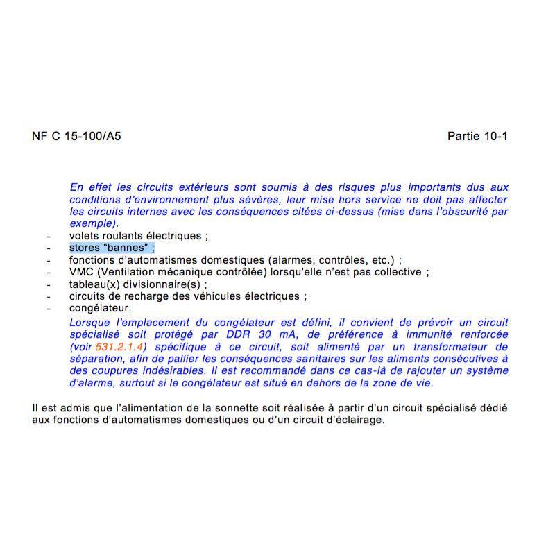 store banne circuit électrique spécialisé norme NF C 15-100