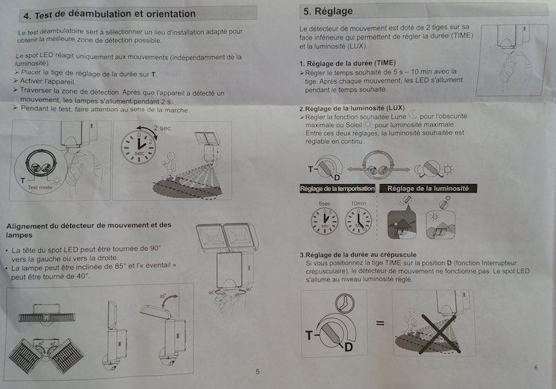 information pour réglage d'un projecteur LEd avec détecteur IR