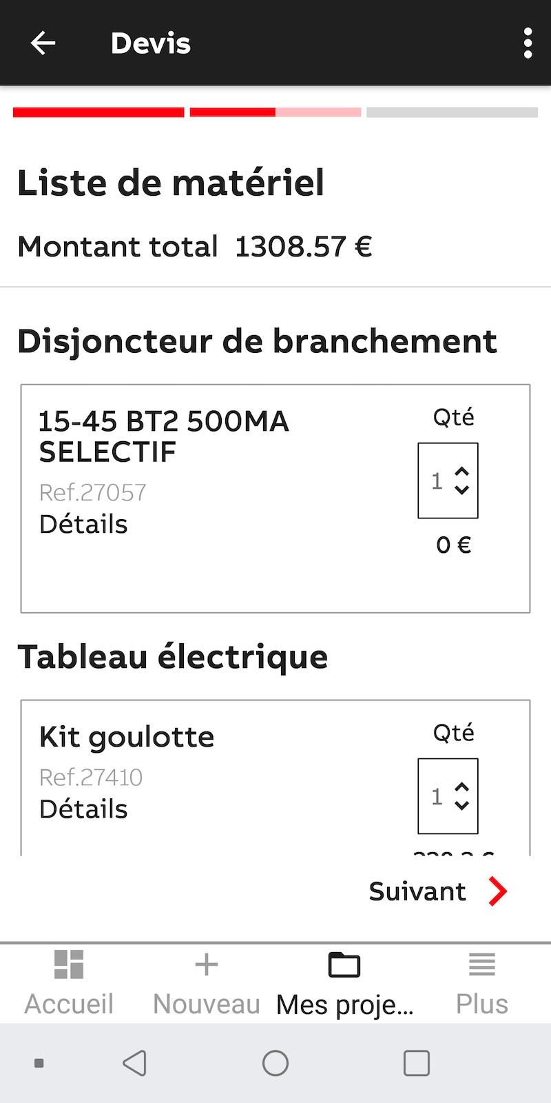 faire une liste de matériel électrique pour le tableau