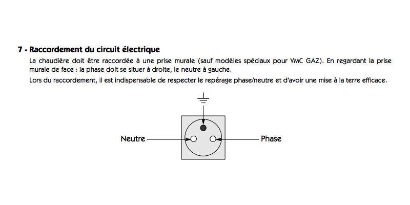 branchement d'une prise électrique avec la phase à droite