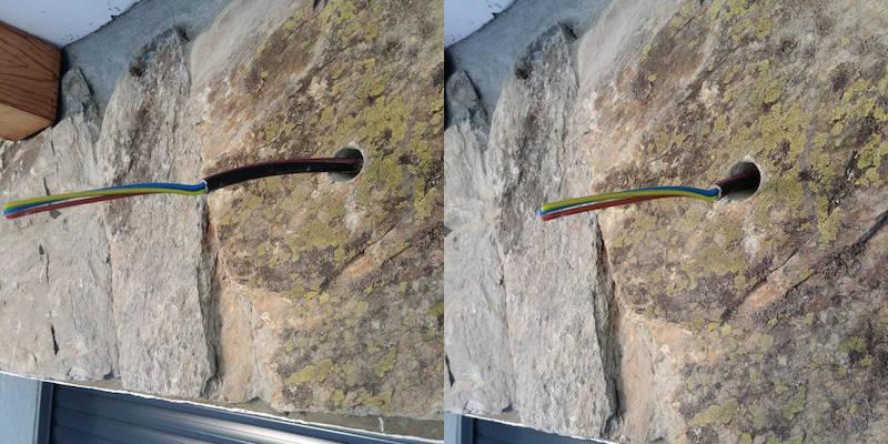 câble électrique pour alimentation d'une applique extérieure murale