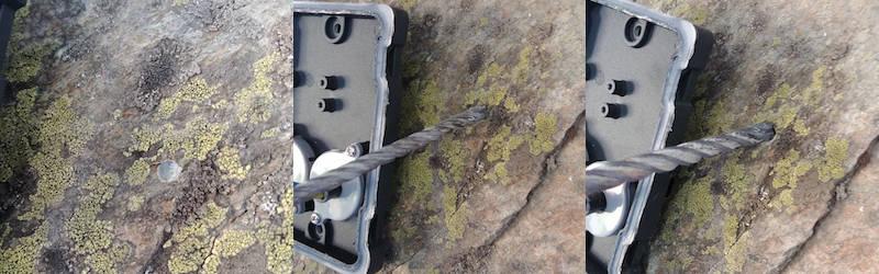 réalisation de trous dans de la pierre pour fixer un luminaire