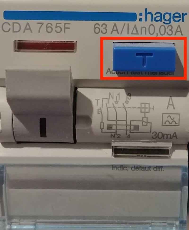 a quoi sert le bouton test de l'interrupteur différentiel?
