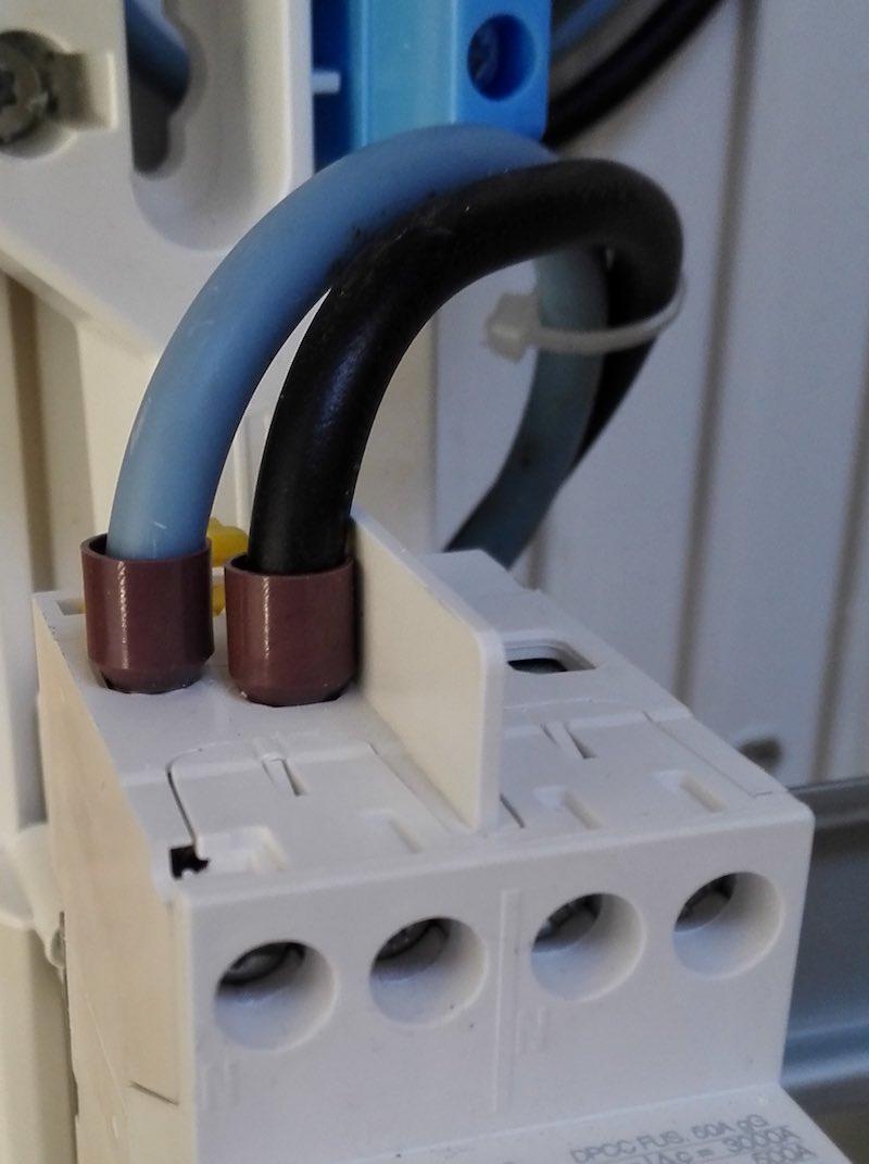 différentiel général, branchement aux borniers du coffret électrique