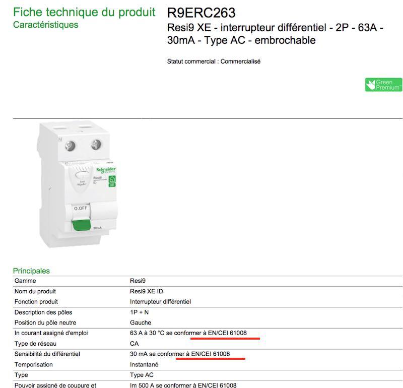 contrôle qualité norme interrupteur différentiel Schneider NF-EN61008