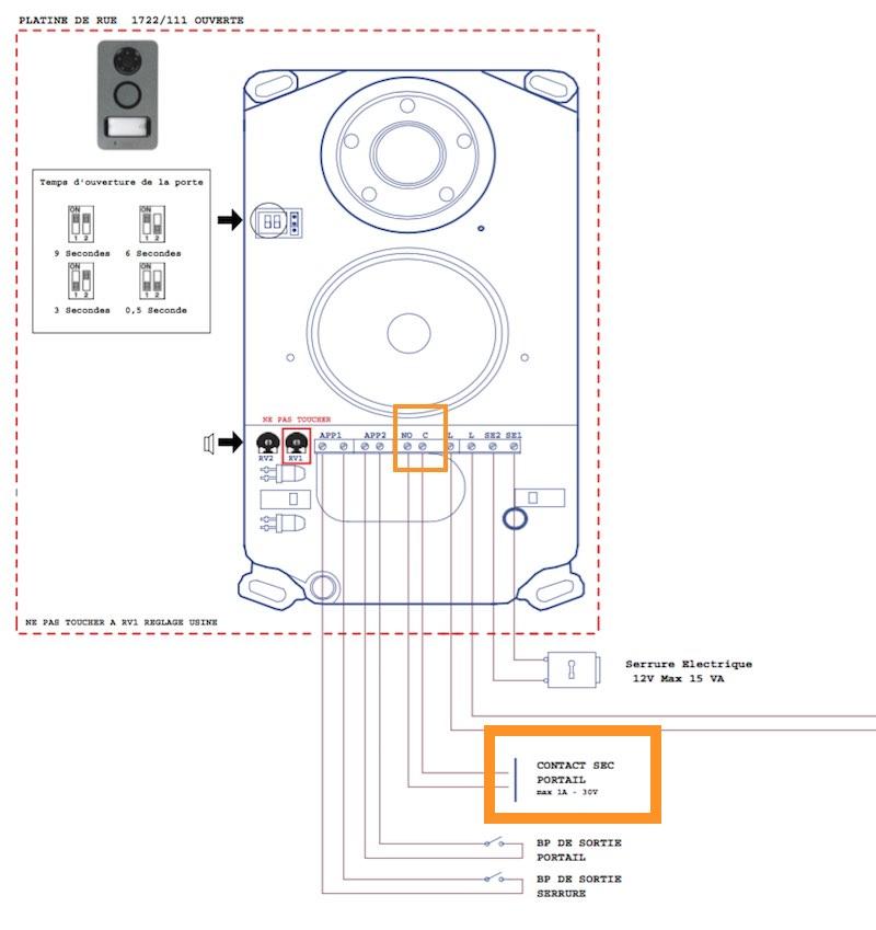 contact sec sur un visiophone