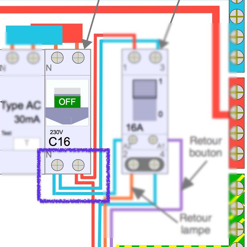 branchement électrique de deux télérupteurs dans le coffret TGBT