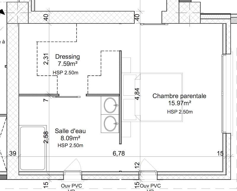 exemple de plan électrique et d'une salle de bain ouverte