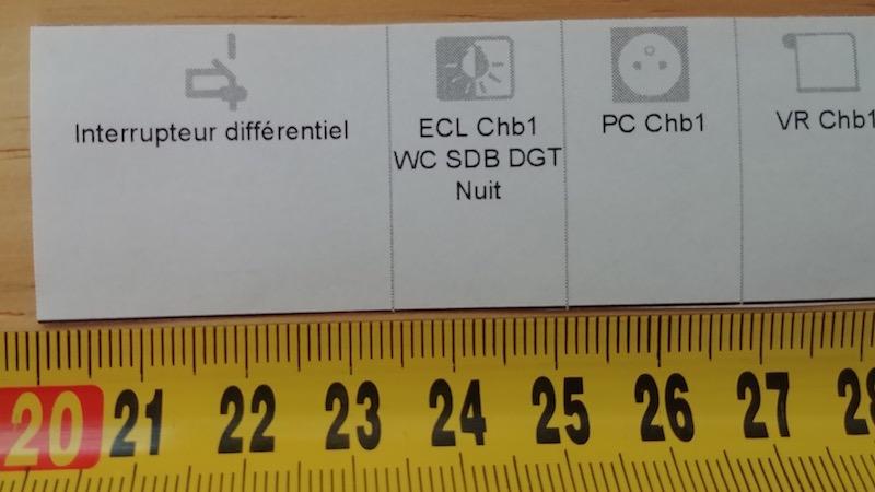 largeur de l'étiquette dans le tableau électrique