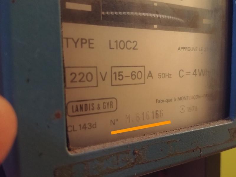 compteur électromécanique numéro de série