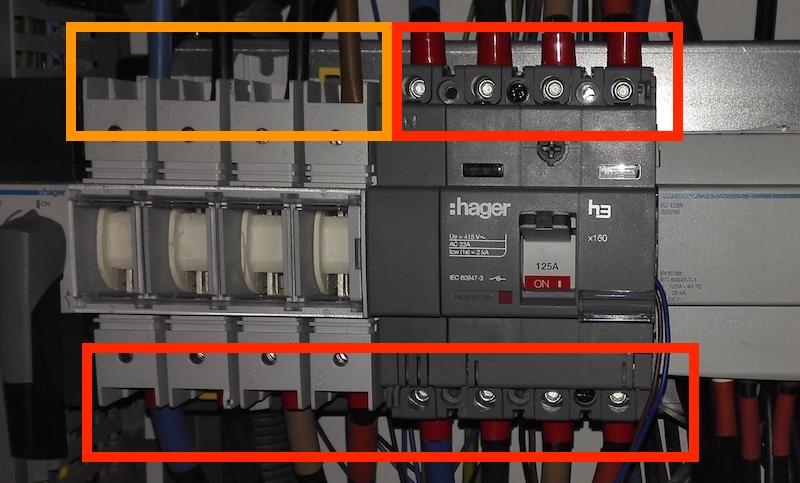 exemple de câblage électrique avec du fil souple et du fil rigide
